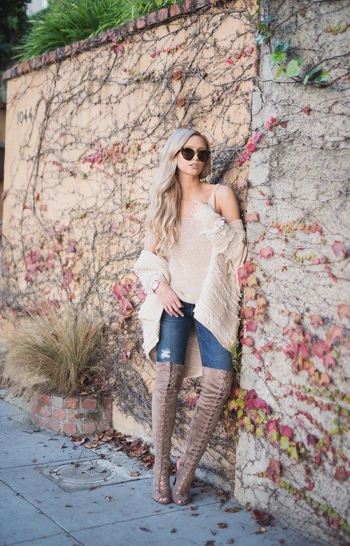 look_thecityblonde #jeans #skinnyjeans #top #nude #nudetop #nudejacket #cardigan #boots #overthekneeboots #nudeboots #heels #sunglasses @thecityblonde #ootd #onlineshopping #lookave #onlineshopping #streetstyle #style #fashion #outfit