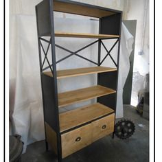 Meuble industriel bibliothèque sur mesure croisix 3 métal et bois, esprit loft…