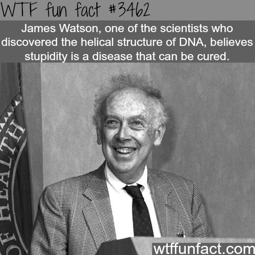 Stupidity is a disease that can be cured!  ~James Watson - Faith in Humanity Restored! WTF fun facts