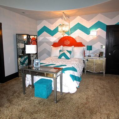 teen room girl chevron wall | Teen Girls Bedroom