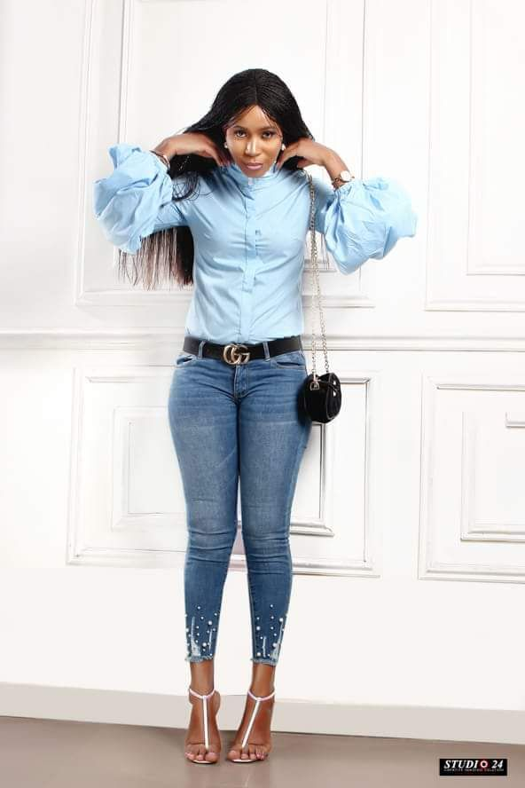 4db532dc884dc Long Wide Lantern Sleeve Blue Blouse Women Button Down Blouses Shirts -  sheheonline