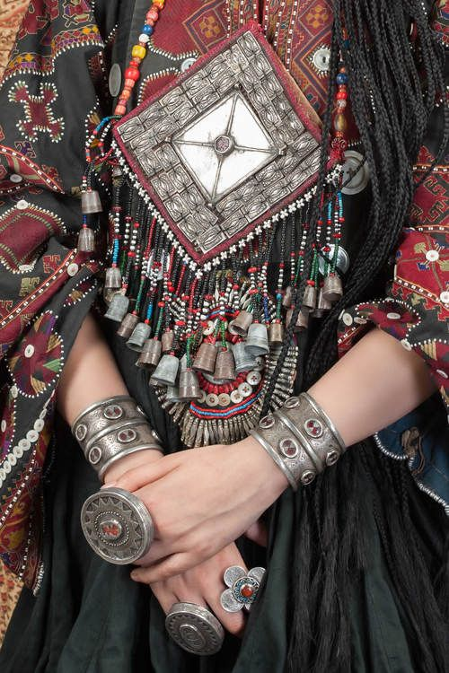Turkoman Ganzuk Ersari tribe silver with glass inlay and thimbles , amulet that…