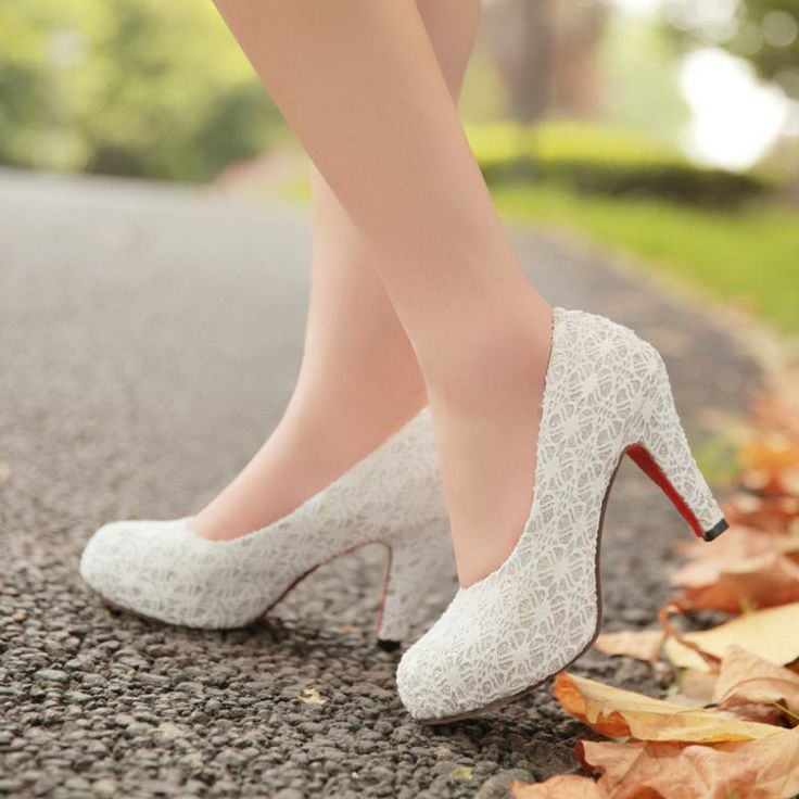 Good 2014 Spring High Heel Shoes White Lace Chunky Heels Wedding Shoes Princess  Bride Shoes Club On Etsy,