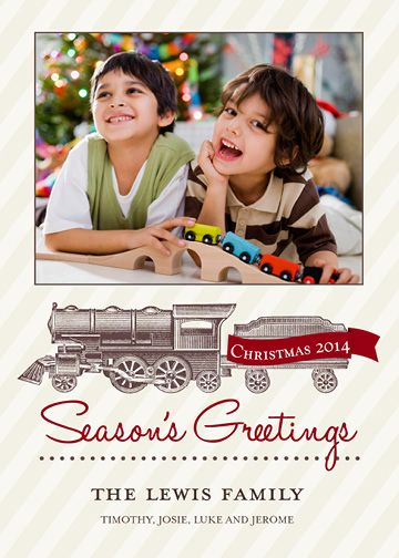 Vintage Train (5×7) Holiday Christmas Photo Card template from Focus in Pix.
