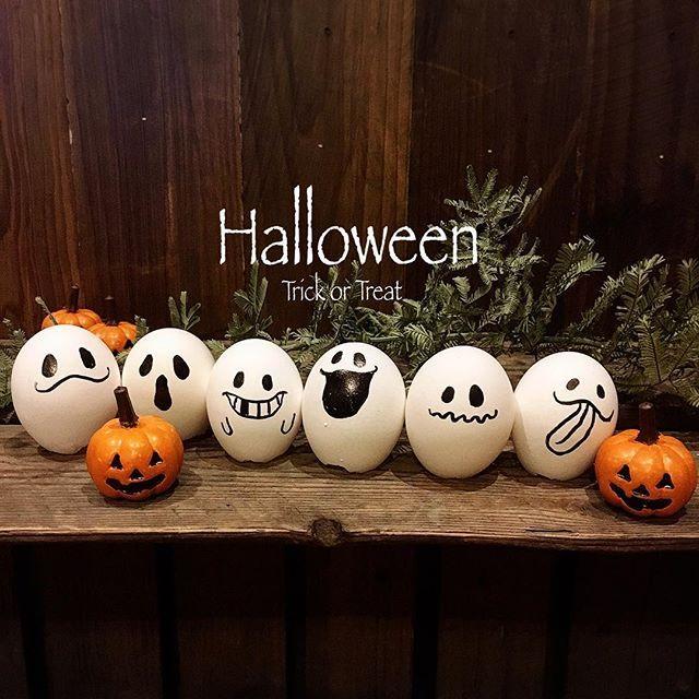 * 毎年恒例 卵の殻のおばけちゃん * 卵の殻に油性のマジックで 顔を描くだけ(。 >艸<) * ハロウィンが終わると 子供達に…