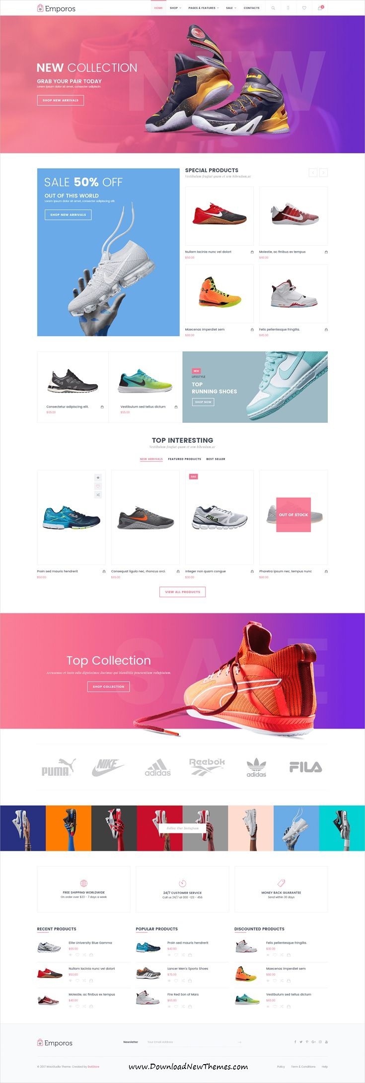 Emporos is clean, stylish and modern design responsive WooCommerce WordPress template for stunning #shoes store #eCommerce #website with 3+ niche homepage layouts to live preview & download click on Visit  #shoesoftheday