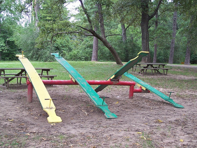 Remember teeter-totters?  You don't see these much anymore.  These are located on a quiet rural road near Tomball, TX.