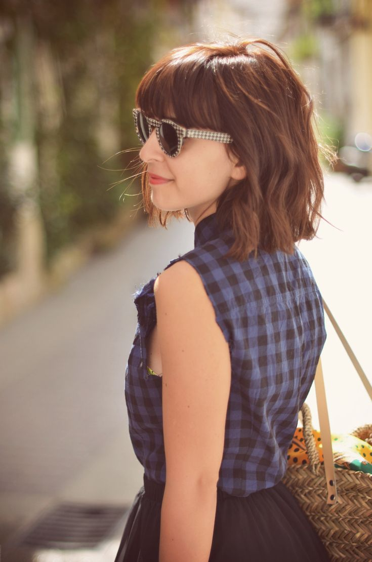 Cute long, messy bob with fringe, maybe too short for me