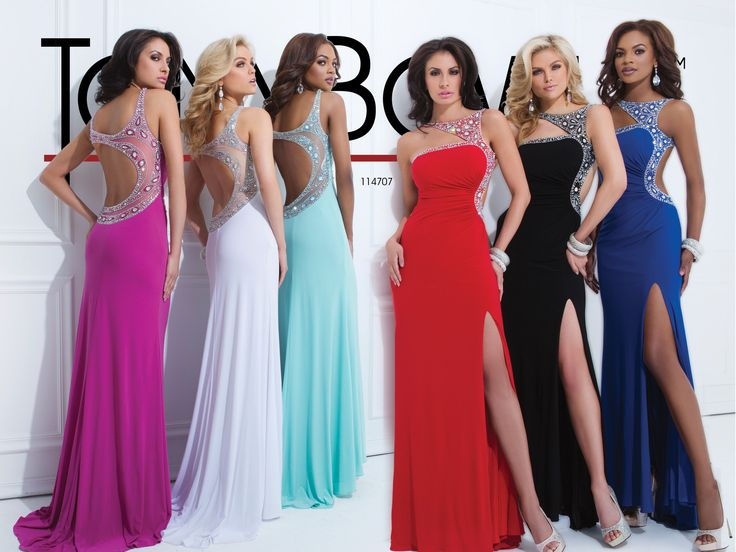 Prom Dress 2014 Collection- Jersey slim gown with triangle shaped front neckband with crystal accents, side draping and curved sheer back with crystal accents and front side slit..Sizes: 0-16