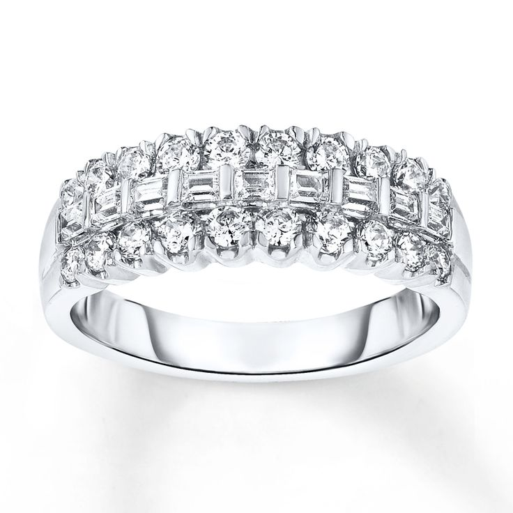 Simply Brilliant This Diamond Anniversary Band For Her Features Baguette Diamonds In The Center With Round Above And Below