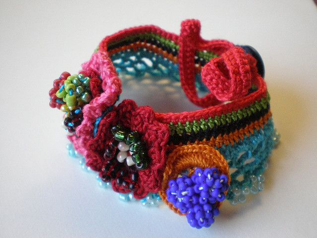 Kitsch   Flowers Freeform Crochet Cuff   Flickr   Photo Sharing