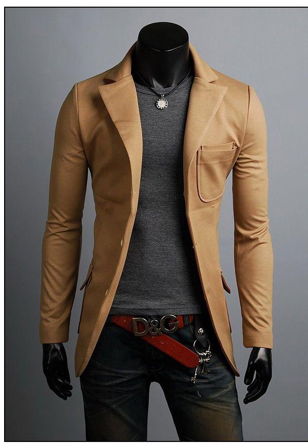 Wholesale KOREAN Mens Slim Fit Premium Button Jacket Double Pocket Blazer
