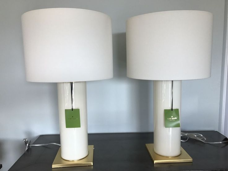 2x NWT Kate Spade Cylindrical Cream Table Lamps w/White Shade Retail 567.00each #KateSpade #Traditional
