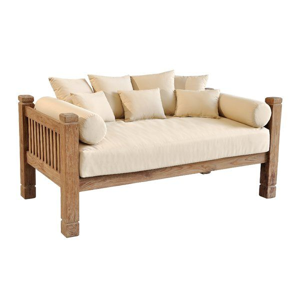 Perine Teak Patio Daybed With Cushions Patio Daybed Teak Patio Furniture Outdoor Daybed