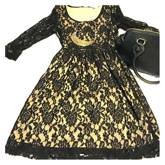 Black laced dress Black and Tan lace dress! Beautiful for a night out! Dresses