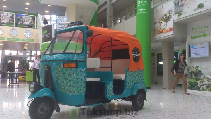Bajaj Auto Rickshaw from www.tukshop.biz creating a buzz at Asda HQ, Leeds.