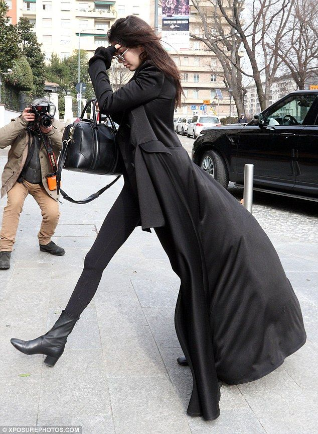 Supermodel stems: The second youngest member of the Kardashian-Jenner clan elongated her endless legs with a pair of heeled boots