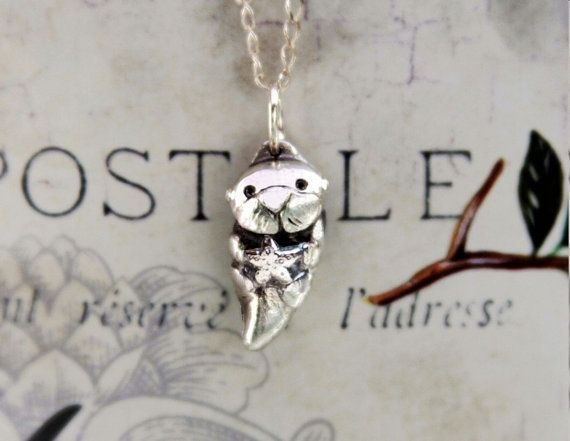 OTTER with starfish in solid fine silver -  for tattoo - maybe with a heart instead of the starfish?