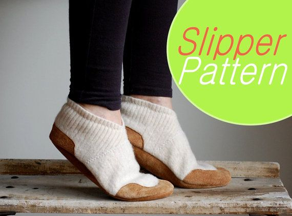 Slippers Sewing Pattern, Women & Men sizes, PDF Instant Download Tutorial by Wooly Baby - Also available: Already made slippers, for those without the urge to sew!