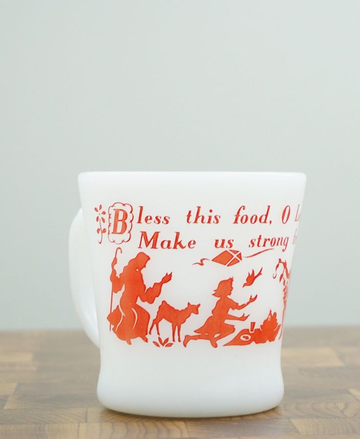 Bless This Food Vintage Fire King Coffee Mug Milk Glass