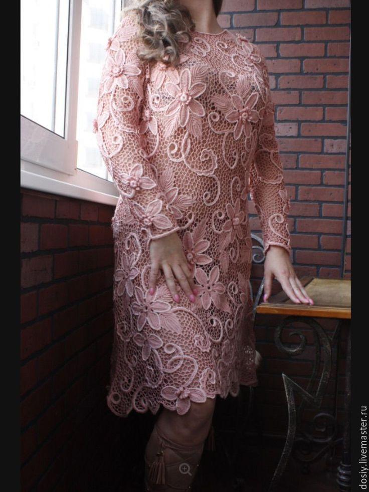 Купить Вязаное платье цвета пыльной розы. Ирландское кружево. - розовый, цветочный, вязаное платье