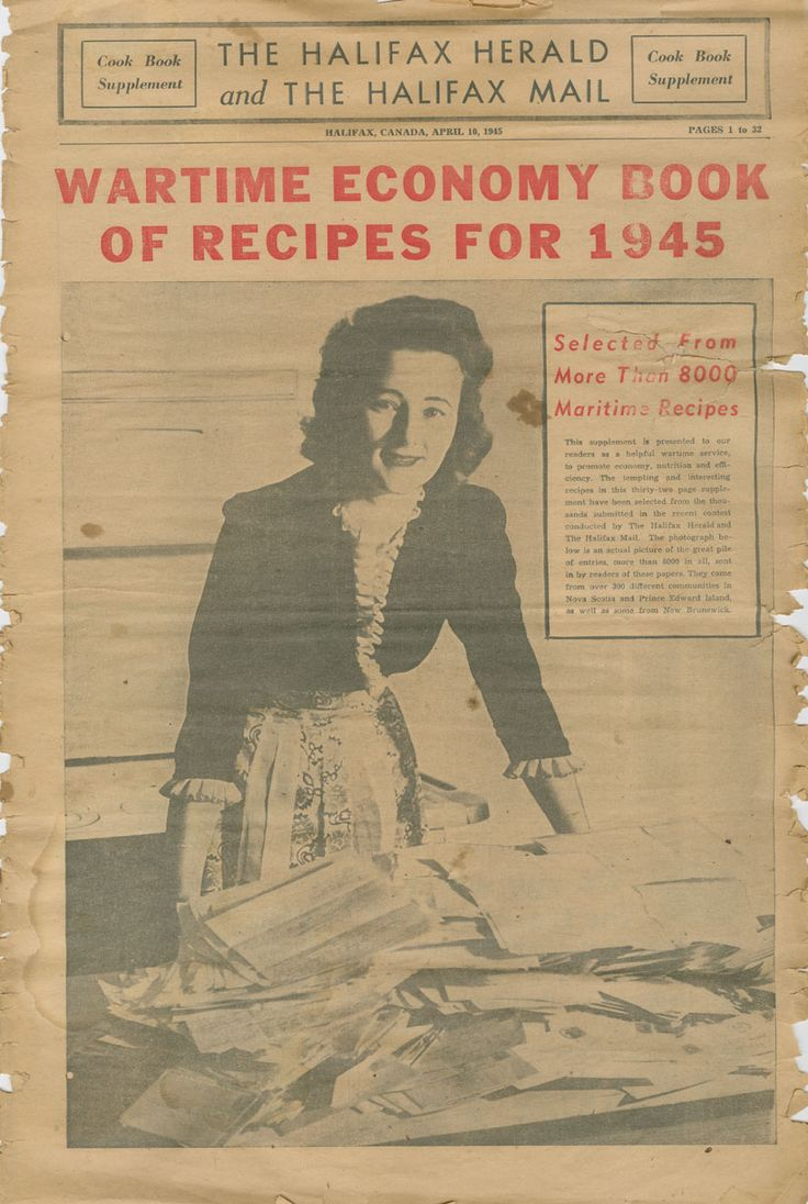 Wartime Economy Book of Recipes for 1945 from the Halifax Herald. #Canada #vintage #1940s #WW2