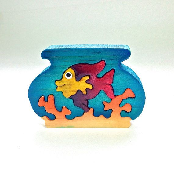 Fish Bowl Wooden Animal Puzzle Handmade by PuzzleFriends on Etsy, $9.99