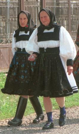 Older ladies at Certeze, 1997. Satu Mare County, Maramures