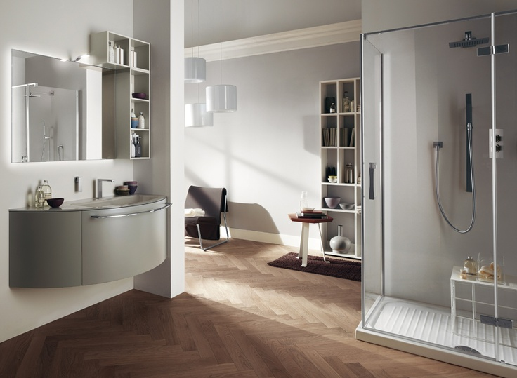 #kylpyhuone #scavolini #decorkylpyhuoneet #kylpyhuonekalusteet #sisustus  Aquo kylpyhuonekaluste Scavolini Rounded design for the Arcos corner-shower enclosure, specifically designed for small spaces | The #bathrooms according to Scavolini