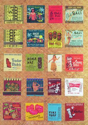 【ハワイアンポスター】   トラベル022 ティキバー 激レア★ビンテージマッチコレクションB