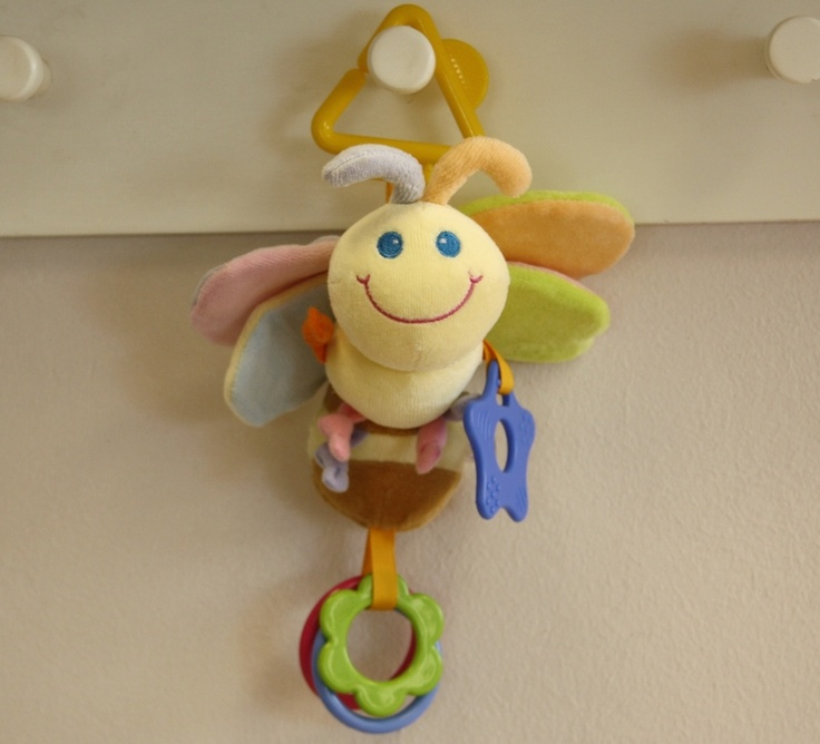 Bee Pram Mobile - Delightful bee to attached to a pram with a teether and play rings