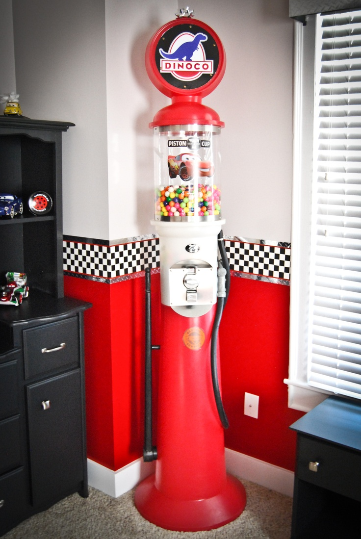 7ft Tall Gas Pump Gumball Machine With Custom Dinoco Logo