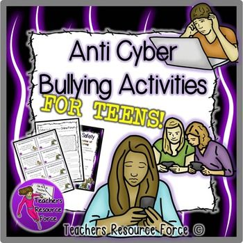 Anti Cyber Bullying Activities for Teens! Do you want to teach your students about the dangers of Cyber Bullying? It is a rising problem among teenagers and young people in this age of social media, so this resource will educate your students about the dangers and effects of cyber bullying by encouraging them to discuss and reflect on realistic scenarios.