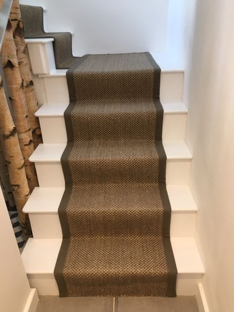 Best Oriental Sisal Pewter With Cotton Border Stair Runner 400 x 300