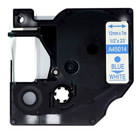 Dymo D1 45014 Blue on White Compatible Label Tape (12mm x 7m)