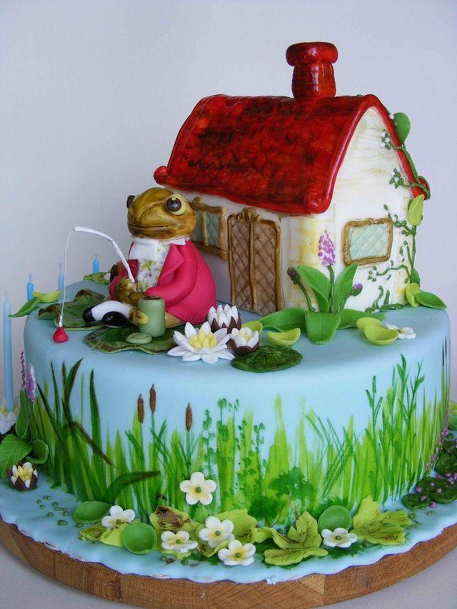 A Jeremy Fisher Beatrix Potter Cake. Amazing details.