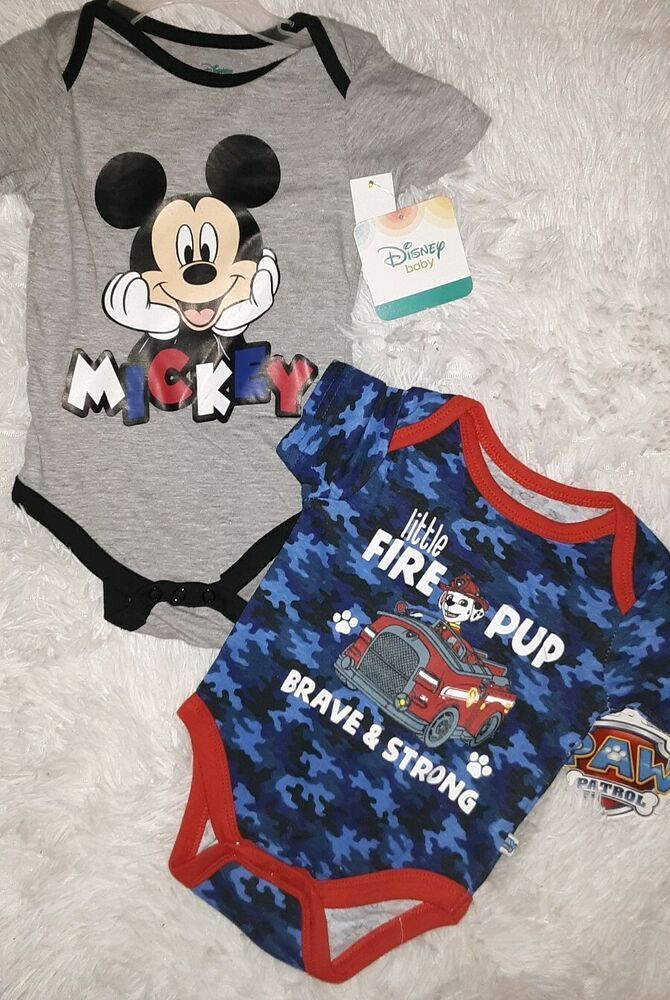 Disney Infant Boys 2 Pc Mickey Mouse Overalls /& Bodysuit Size Newborn NWT