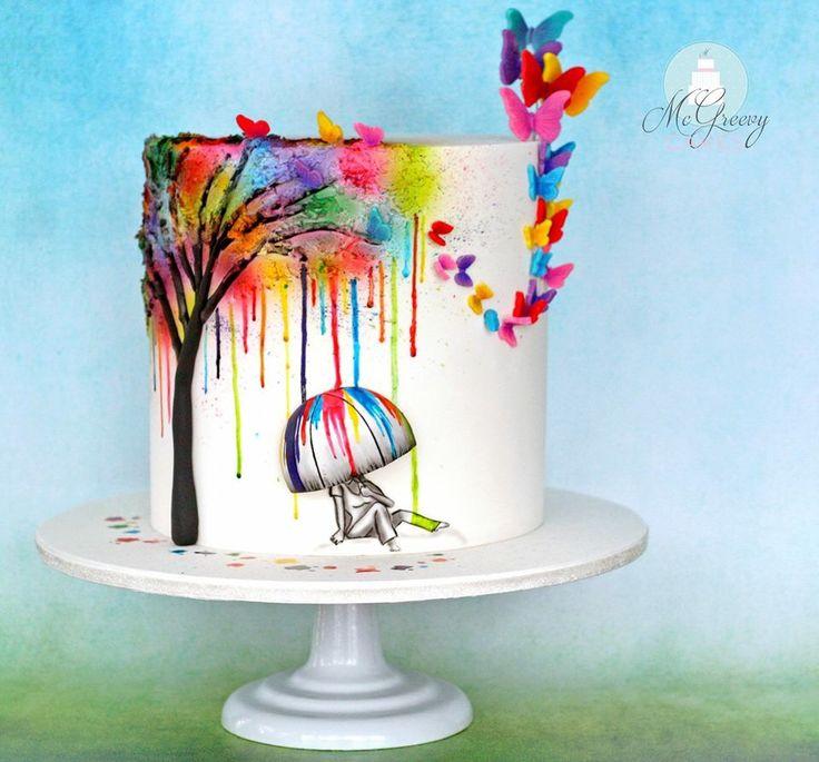 Water paint cake