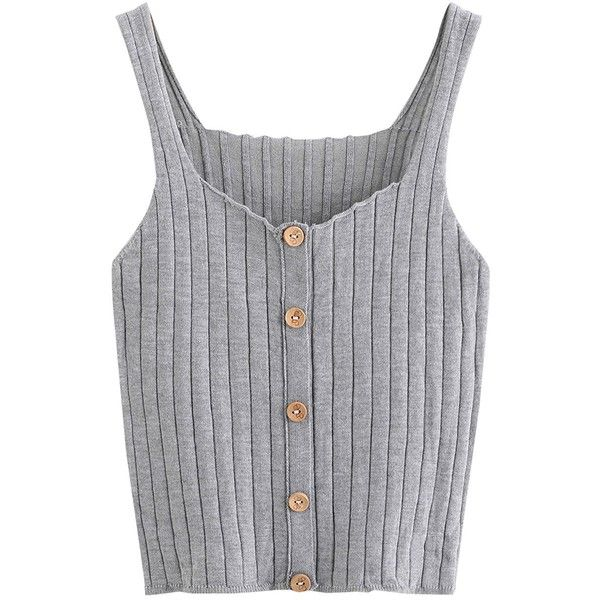 009abf94b73 SweatyRocks Women s Sleeveless Vest Button Front Crop Tank Top Ribbed...  ( 12) ❤ liked on Polyvore featuring tops