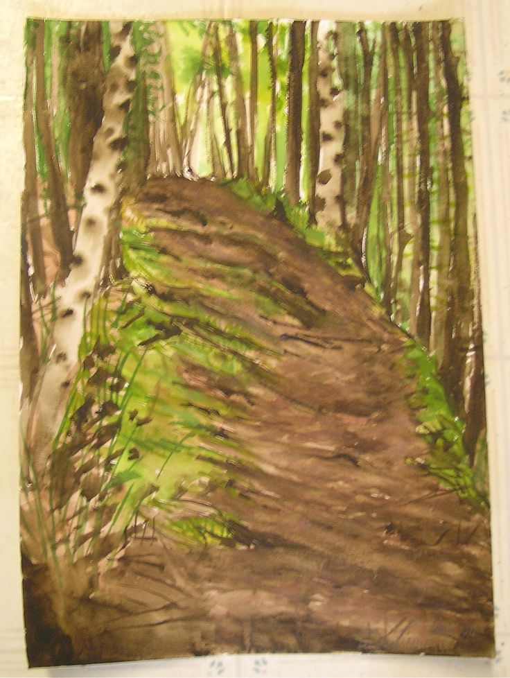 Pathway with Birches at Long Pond, Mt. Desert Island, ME copyright 2011 Karen Singer
