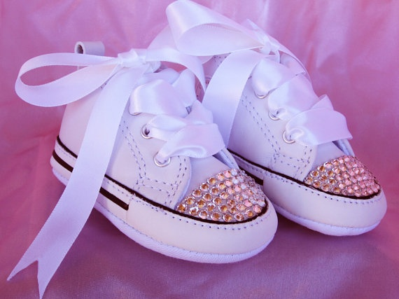SIMPLY CRYSTALS Baby Girl Converse Sneakers for a keepsake, Baptism,  Christening, Wedding,