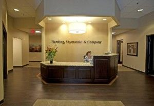 Harding, Shymanski & Company office reception area designed by Luckett & Farley
