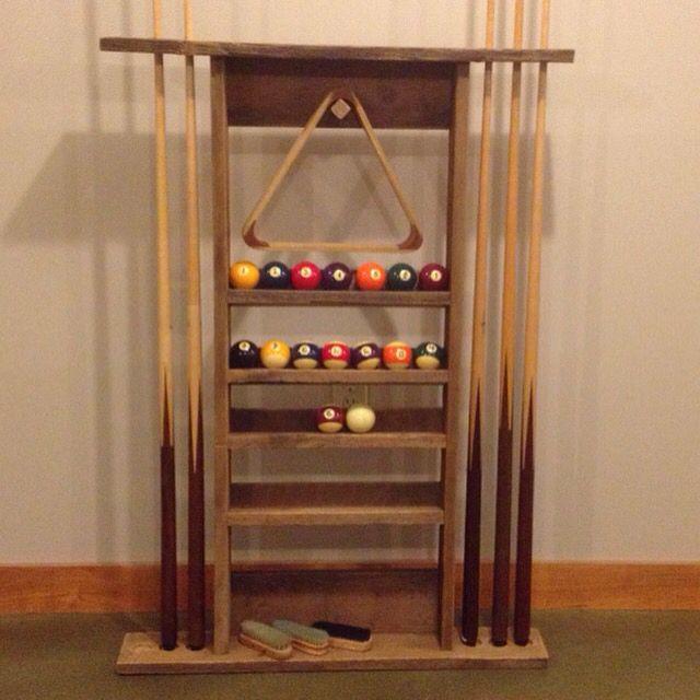 Cue stick rack built from reclaimed barnwood. Splintershop2@gmail.com
