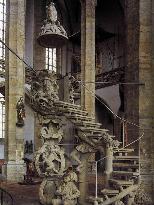 centuriespast:        WITTEN, Hans      Tulip Pulpit      1508-10      Limestone      Cathedral, Freiberg