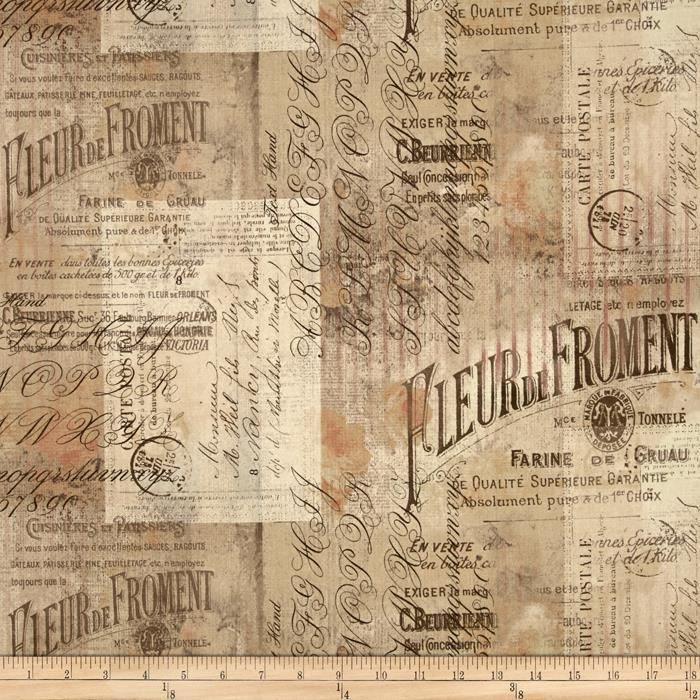 Tim Holtz Eclectic Elements Wallflower Shabby Script Multi from @fabricdotcom  Designed by Tim Holtz for Westminster Fabrics, this cotton print collection is perfect for quilting, apparel, and home decor accents. Colors include shades of tan and beige, with black, brown, and muted rust.