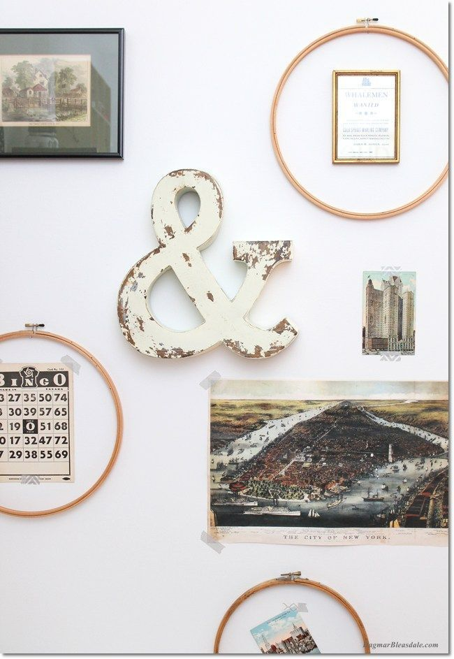 "Easy gallery wall: simply use embroidery hoops for your ""frames""! I added a bunch of vintage item to them and voila = pretty, instant wall art in my office. Dagmar's Home, DagmarBleasdale.com #art #DIY #decor #design #vintage #shabbychic #wallart #embroidery #hoop #craft"