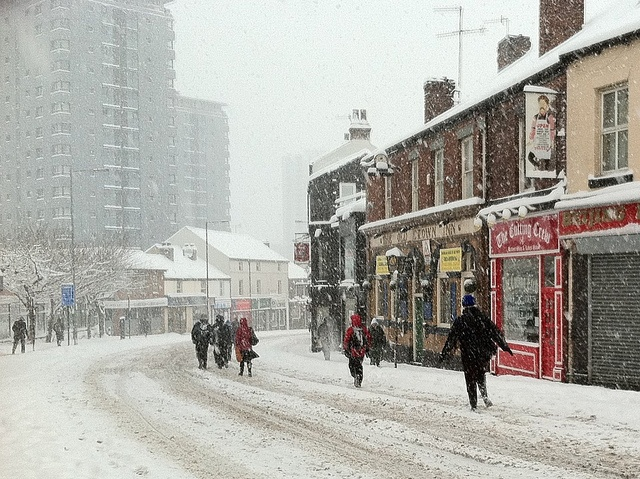 London Road in the snow, Sheffield