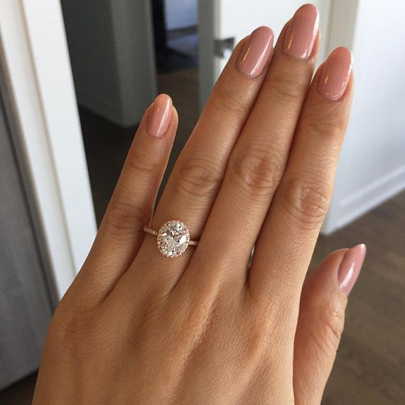2.25 ctw Oval Halo Ring, Vintage Style Engagement Ring, Man Made Diamond Simulants, Art Deco Halo Ring, Sterling Silver, Rose Gold Plated