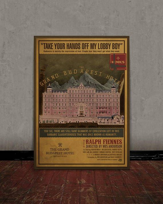 The grand Budapest hotel Wes Anderson Colored retro classic