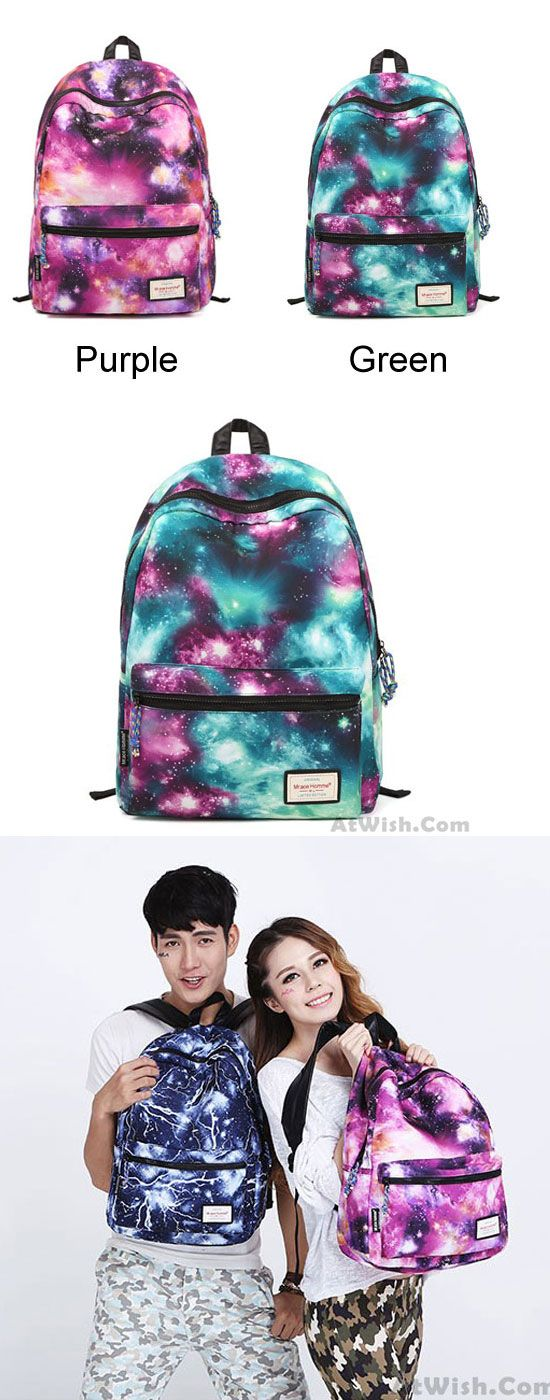 Retro Galaxy Colorful Couple Waterproof Backpack School Bag for big sale ! #backpack #school #bag #retro #galaxy #rucksack #college